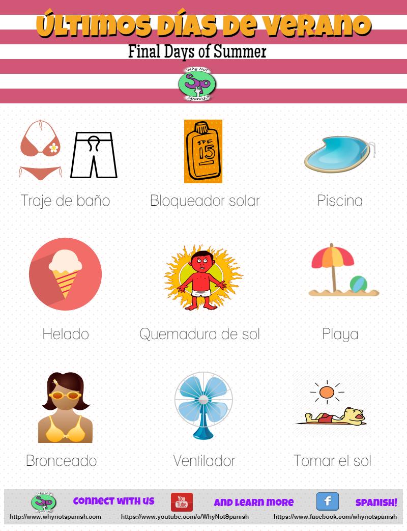 Spanish Summer Vocabulary